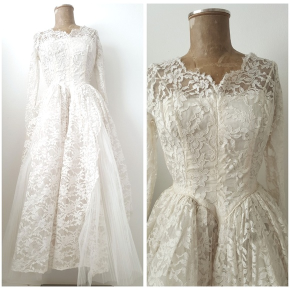 c069388ccb7f Vintage Dresses | 50s Pinup Ivory Lace Wedding Dress Small | Poshmark